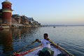 Boating at varanasi ghats ganges river Stock Photo