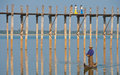 Boatman by ubein bridge Royalty Free Stock Photography