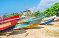 Boats along the beach Royalty Free Stock Photo