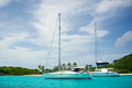 Boats Anchored off the Coast of Mayreau Royalty Free Stock Photo