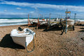 Boats ashore on the sand Royalty Free Stock Photo
