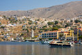 Boats in bay of symi island Stock Image