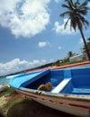 Boats on beach shore Brig Bay  Big Corn Island, Nicaragua, Centr Royalty Free Stock Photo
