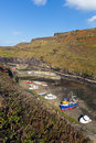 Boats in Boscastle harbour Cornwall England UK Royalty Free Stock Photo
