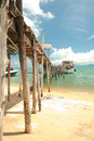 Boats and bridge photo of in thailand Royalty Free Stock Photo