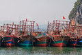 Boats in cai rong port bai tu long vietnam Royalty Free Stock Photo