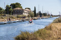 Canal du Midi and Les Onglous lighthouse, Agde, France Royalty Free Stock Photo