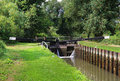 Boats in a canal lock on the kennet avon west berkshire Royalty Free Stock Images