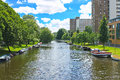 Boats on  canal in  park in Amsterdam. Royalty Free Stock Photography