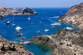 Boats at Cap de Creus, Girona, Costa Brava, Spain Stock Photos