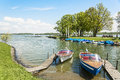 Boats on the chiemsee germany lake in in spring Royalty Free Stock Photography