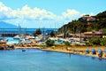 Boats, clouds, rocks, coast, Salivoli, in Livorno, Tuscany, Italy Royalty Free Stock Photo