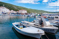 Boats at cres town port in croatia Stock Photos