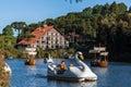 Boats on Dark Lake Gramado Brazil Stock Photos