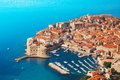 Boats at dubrovnik old town port fort of from the bird s view with blue sea and Royalty Free Stock Image