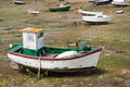 Boats at ebb tide in Bretagne, France Royalty Free Stock Image