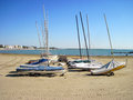 Boats on the empty beach end of season in caorle italy Stock Photo