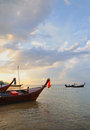 Boats in evening in kamala bay in thailand island phuket Royalty Free Stock Photos
