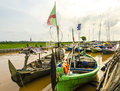 Boats fishermen indonesian people on the river downstream views of fishing in afternoon Royalty Free Stock Photo