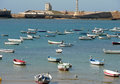 Boats fishing in mediterranean sea spain Royalty Free Stock Photos