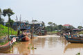 Boats in the floating village of Kompong Pluk Royalty Free Stock Images