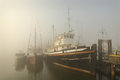 Boats in Fog, Steveston Stock Photo