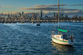 Boats in front of the melbourne skyline several docked Royalty Free Stock Image