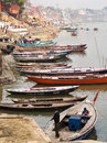 Boats on the Ganges River in Varanasi, Uttar Pradesh, India Royalty Free Stock Photo