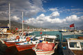Boats harbour alanya turkey middle east Royalty Free Stock Photo