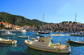 Boats in harbour of coastal city hvar croatia Royalty Free Stock Images