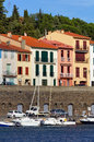 Boats and houses in Port-Vendres Stock Photography