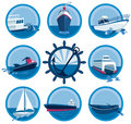 Boats icons collection Royalty Free Stock Photo