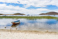Boats on Island of the Sun, Titicaca Lake, Bolivia Royalty Free Stock Photo