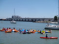 Boats kayaks and people in floatation devices wait in mccovey san francisco ca july cove hoping for a homerun ball during a giants Stock Photography