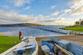 Boats beside Kielder Water Royalty Free Stock Photo