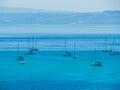 Boats in La Pelosa Beach, Stintino, Italy Royalty Free Stock Photo