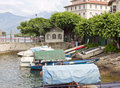 Boats on the lago maggiore some boots in italy Royalty Free Stock Photos