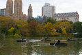 Boats in the Lake of Central Park Royalty Free Stock Photo