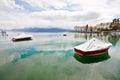 Boats at Lake Geneva, Lausanne, Switzerland Royalty Free Stock Image