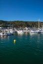 Boats and marina in Estartit city on the Costa Brava Royalty Free Stock Photo