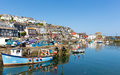 Boats mevagissey harbour cornwall england in the during the heatwave in the summer of on a beautiful blue sky summer day Stock Images