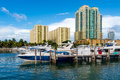 Boats in miami beach marina view of luxurious and yacht docked a Stock Photo