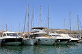 Boats moored in alcudia harbor on island of majorca spain Stock Image