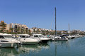 Boats moored in alcudia harbor majorca spain Royalty Free Stock Images