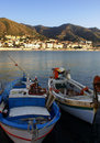 Boats moored in Cefalu harbor Stock Image