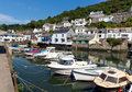 Boats moored in harbour polperro cornwall england uk Royalty Free Stock Photos