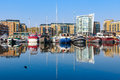 Boats moored at Limehouse Basin Marina