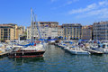 Boats moored in Marseille harbor Royalty Free Stock Photo