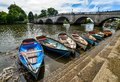 Boats moored on the Thames - Richmond - London Royalty Free Stock Photo