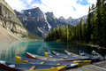 Boats on moraine lake canada Stock Photography